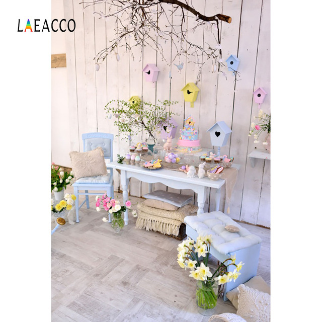 Laeacco Spring Easter Eggs Decor Wooden Wall Interior Photography Backgrounds Customized Photographic Backdrops For Photo Studio