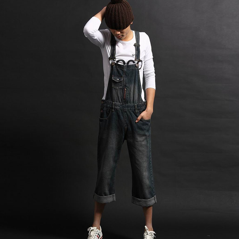 New Summer Men`s Street Style Denim Bib Overalls Cuffed Vintage Washed Blue Plus Size M-8XL Jeans Jumpsuit For Men free shipping denim overalls men 2016 new brand fashion mens bib denim shorts bib jeans fast delivery size s m l xl xxl 3xl 4xl