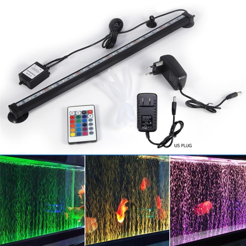 5050 RGB LED Aquarium Light Fish Tank Submersible Air Bubble Lamp Remote Control EU/US Plug Aquarium Led Lighting