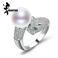 MINTHA Punk Leopard Rings White 10 11mm Big Pearl Solid 925 Sterling Silver Ring For Womens