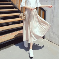 2016 Skirt Ladies Elegant Casual High Waist Pleated Skirt Long Tulle Skirts Straight Skirts Solid Mesh