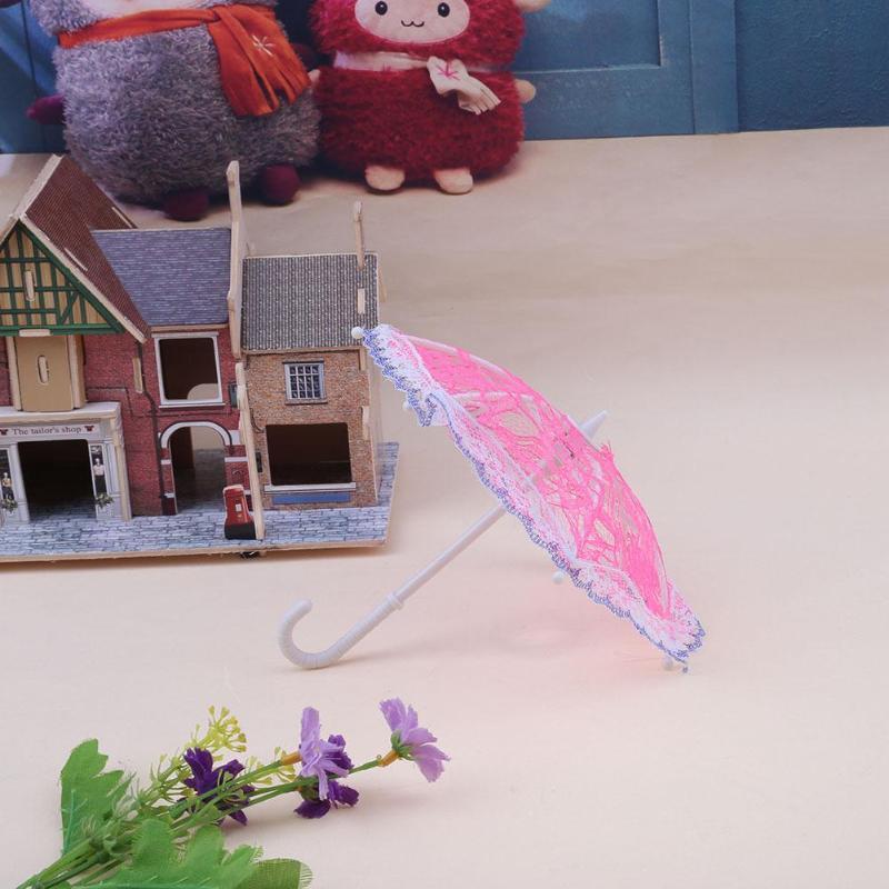 1pc Mini Lace Umbrella Sunshade Umbrella Doll Accessories Doll Plastic Lace Umbrella For Dolls Girls Birthday Xmas Gift