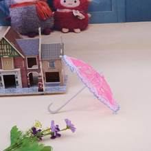 1pc Mini Lace Umbrella Sunshade Umbrella Doll Accessories Doll Plastic Lace Umbrella for Dolls Girls Birthday Xmas Gift(China)