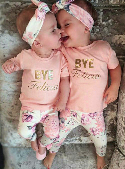 Tops T-shirt Floral Pink Pants 2pcs Baby Kids Girls Clothes Sets Outfits Headband Clothing Baby Girl 0-24M 3 pcs set girls baby clothing sets sleeveless shirt tops floral pants headband vogue clothes 2 6 year hot selling