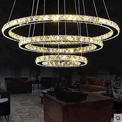Moderne DIY Ronde LED Cristal salon Chambre Lampe Lustre Suspension