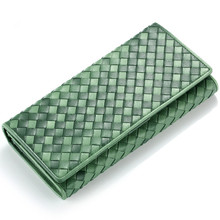 Women Genuine Real Leather Weaving Purse High Quality Top Layer Cowhide Lady Fashion Wallet Clutch Evening Bag Long Wallets
