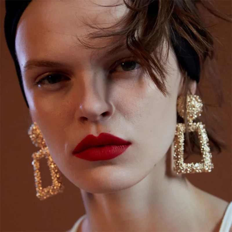 ZA Statement Metal Vintage Drop Earrings Trendy Jewelry Big Geometric 2019 Fashion India Dangle Pendant Earring Wholesale
