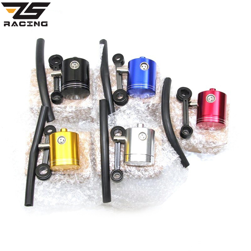 ZS Racing CNC Motorcycle Fluid Oil Reservoir Front Brake Clutch Tank Cylinder Oil Cup Universal For Kawasaki Yamaha With 5 Color cotton motorcycle brake fluid reservoir clutch tank oil cup cover socks for kawasaki ninja ex300 zx636r zx10r z750 z1000 zx12r