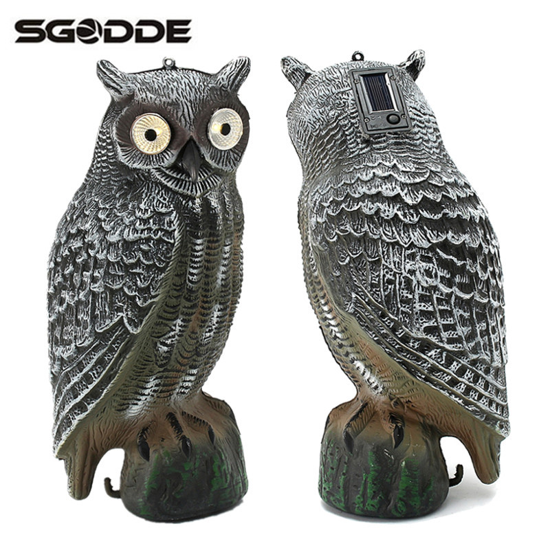 Solar Powered Glowing Eyes Owl Decoy/Deterrent 39x18cm