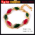 Bohemia Colorful Ethnic Colorful Opal Horse's eye Beads Imitation Diamond Crystal Candy Color Gold Plated Bracelets Bangle