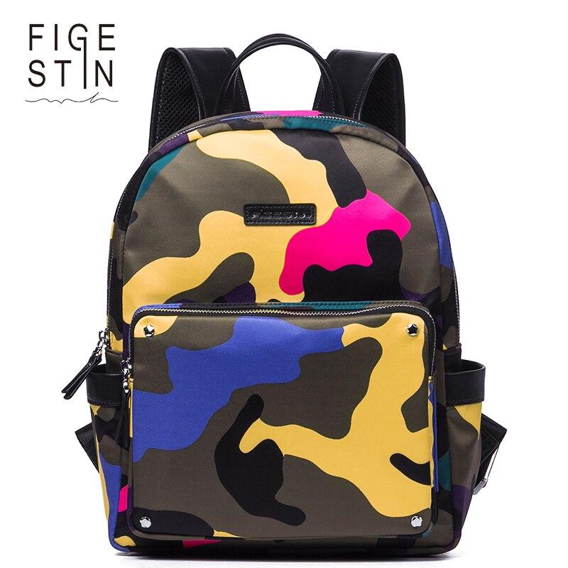 FIGESTIN Backpacks for Women Fashion Yellow Pink Camouflage School Backpacks For Teenage Girls Slightly-waterproof High Quality рюкзаки zipit рюкзак shell backpacks