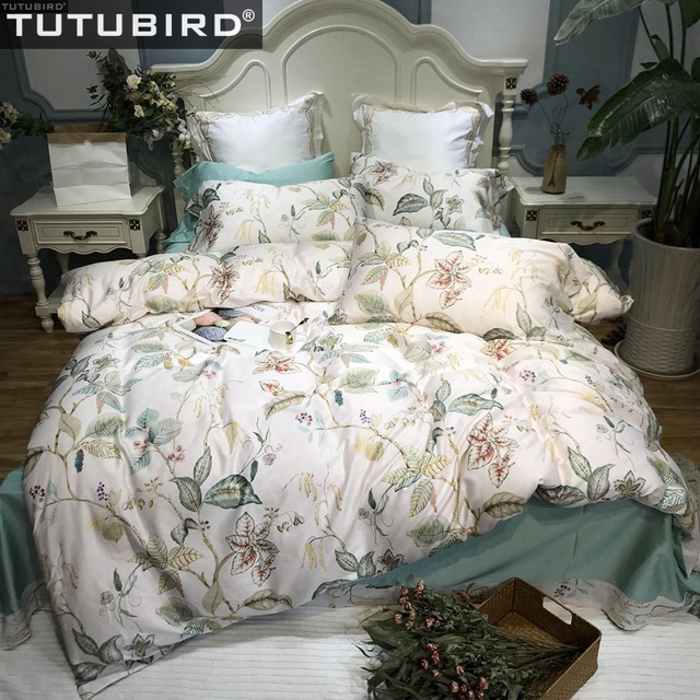 Floral Percal Satin bed linen sheets Egyptian cotton bedding sets duvet cover flower print newest queen king bedspreads