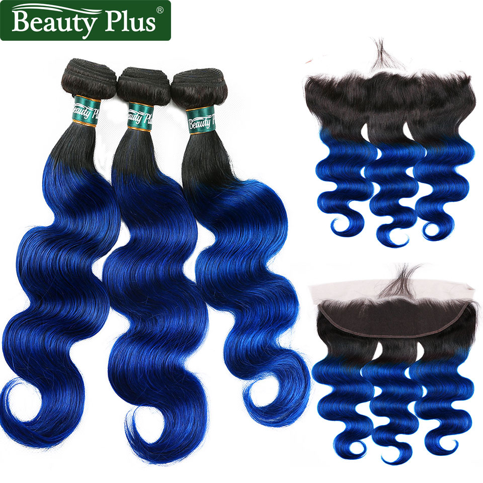 Blue Ombre Bundles With Closure 13x4 Inch Body Wave 3 Bundles With Frontal Baby Hair Brazilian Remy Human Hair Dark Roots
