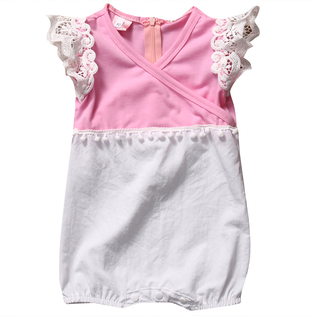 Helen115 New Cute Infant Newborn Baby Girl Clothes Cotton Lace Short Sleeve Bodysuit Outfits cute newborn baby girl clothes set short sleeve letter print short sleeve romper bodysuit ruffled legging warmers headband suit