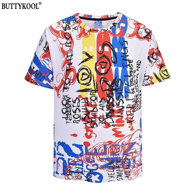 BUTTYKOOL 2018 New T-shirt Tops Comfortable Breathable Men's T shirt Hip Hop Wind Letter Print Mens Tee Top Dropshipping