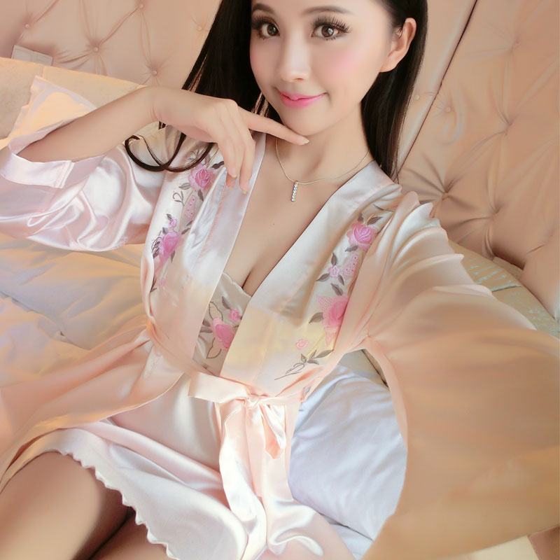 e0b3eb65d8 SusanDick Brand Sexy Silk Robe   Gown Set Women Spring Autumn Embroidery  Sleepwear Set Silk Nightwear Ladies Bathrobe Nightdress-in Robe   Gown Sets  from ...
