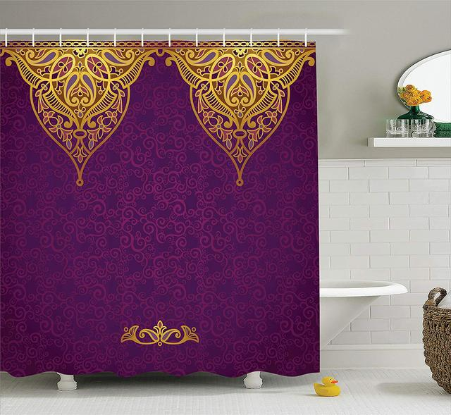 Purple Shower Curtain East Oriental Royal Palace Patterns With Bohemian Style Art Traditional Wedding Fabric Bathroom Decor