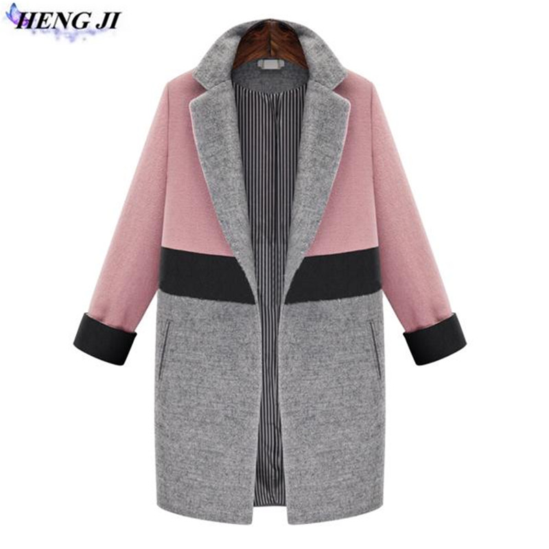 2017 winter pack new, wool cloth female coat, bang color add cotton, medium long style woolen coat, high quality, free shipping