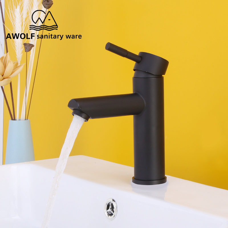 Basin Faucet Stainless Steel Hot Cold Mixer Tap Single Handle Single Hole Deck Mounted Matte Black Bathroom Sink Faucet ML8015
