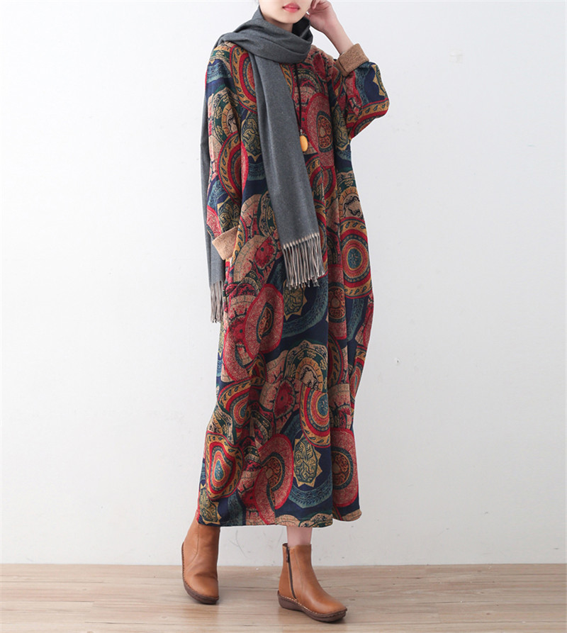 2017 New Women Print Floral Dress Vintage Thick Robe Loose Winter New Long Sleeve O-Neck Dress Knitted Cotton Warm Women Clothes iadoaixnal knitted patchwork floral print belt slim full sleeve women dress summer o neck asymmetrical vintage female long dress
