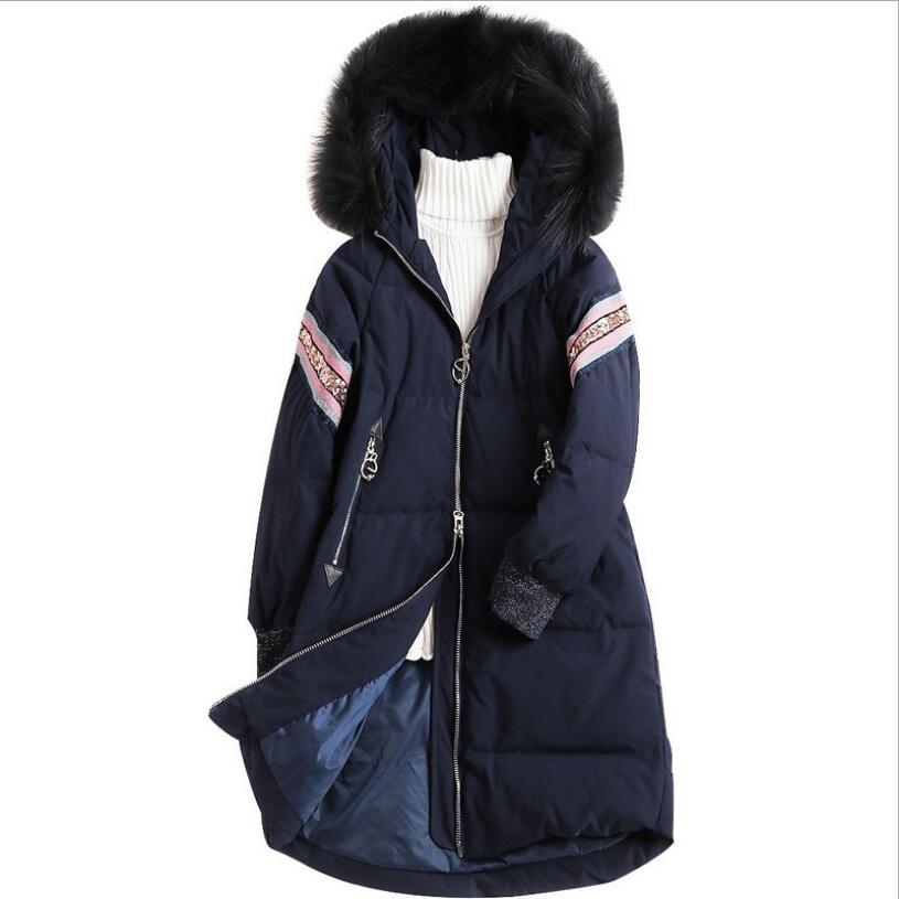 Long Slim Raccoon Fur Hooded   Down     Coat   Women Thicken Warm Ladies   Down   Jacket Outwear Clothes Zipper Fashion Female Winter   Coat