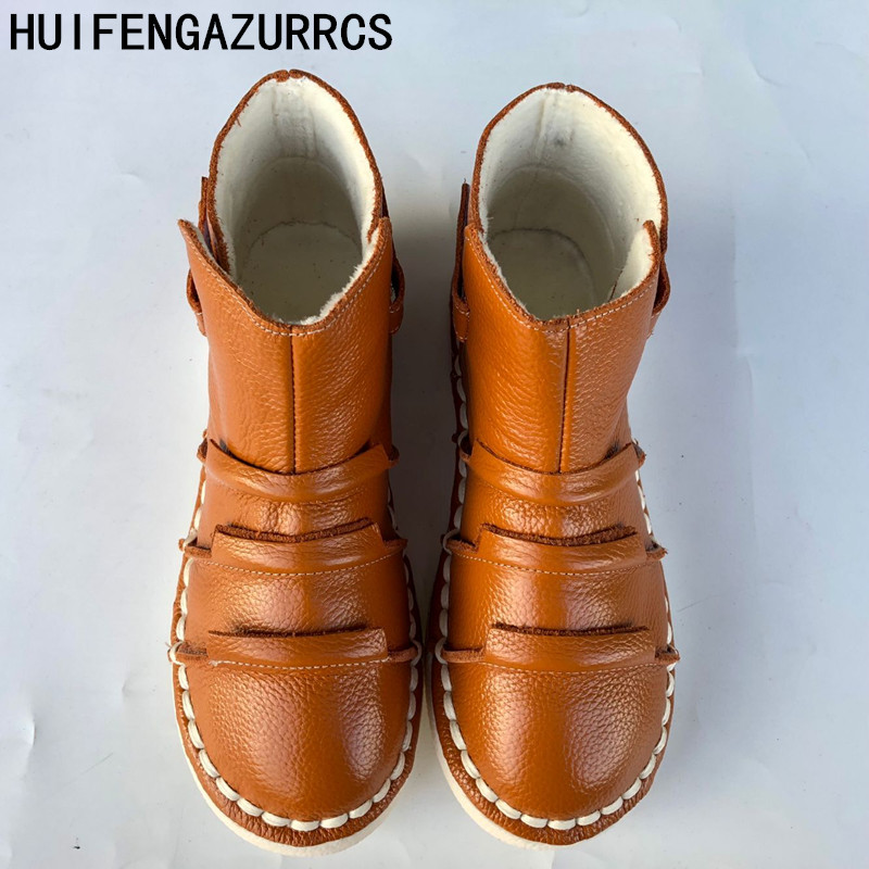 HUIFENGAZURRCS-New Genuine leather shoes,Pure handmade ankle boot,The retro art mori girl shoes, Fashion retro boots ,2 color huifengazurrcs 2018 new spring mori girl soft bottom leisure shoes genuine leather handmade shoes japanese retro shoes 4 colors