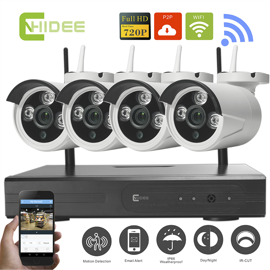 cnhidee 720p ip home security camera system 4ch outdoor night vision recorder cctv 720p wifi. Black Bedroom Furniture Sets. Home Design Ideas