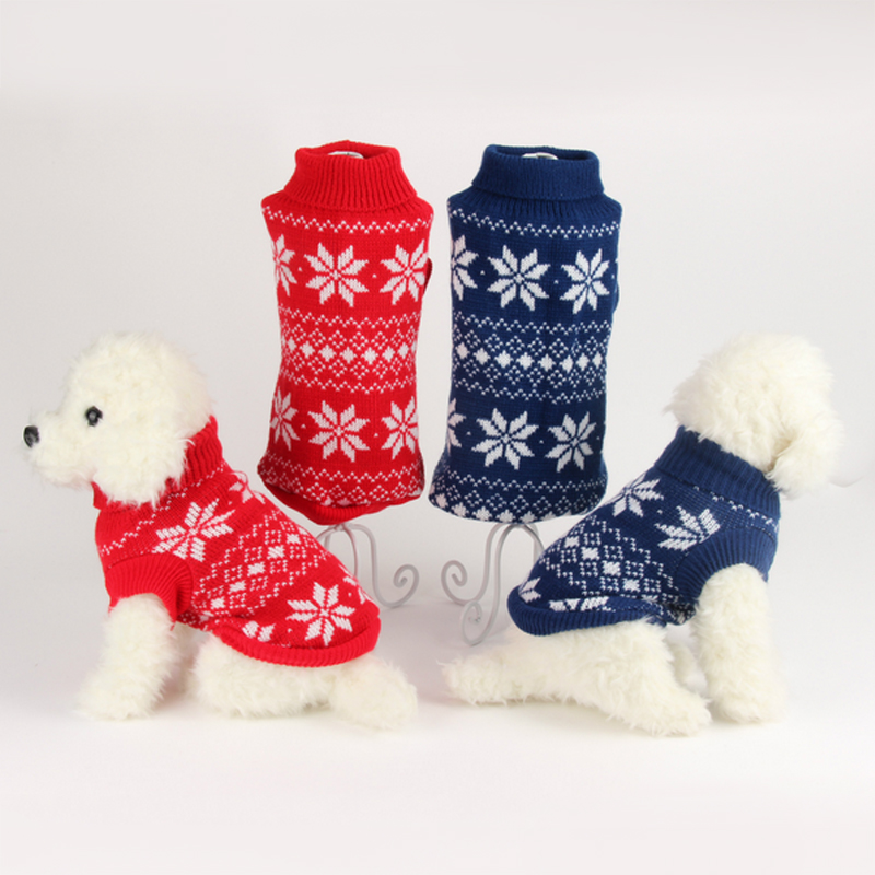 New Design 2018 Autumn Winter Dog Sweaters Knitted Snowflake Print Pets Puppy Dog Cat Warm Costume Christmas Pet Clothing