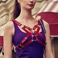 Moda atractiva de la estrella pentagrama artesanales hechos a mano en el pecho sujetador Bustier Corset cuerpo Bondage arnés de cuero