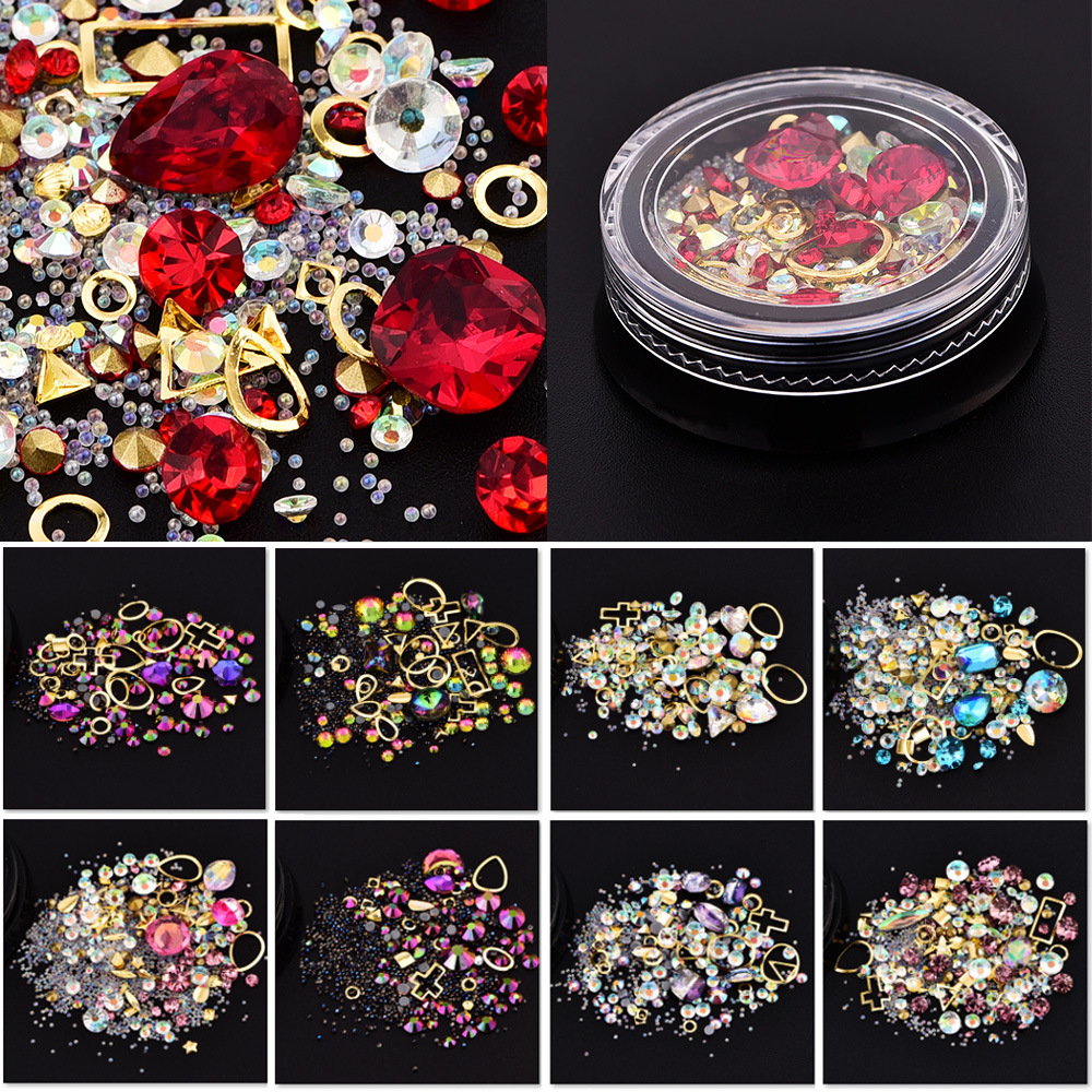Mixed Colorful Acrylic Rhinestones Alloy Metal Frame DIY Nails Decor Manicure 3D Nail Art Decoration 4000pcs 12 color nail art rhinestones sticker diy 3d nails metal manicure decoration beads jewelry studs wheels free shipping