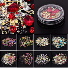 Blandet Farverig Acryl Rhinestones Legering Metal Ramme DIY Negle Decor Manicure 3D Nail Art Decoration