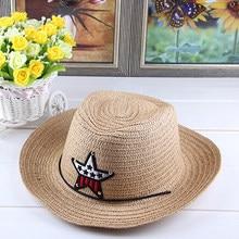 2018 Primavera Verano estrella Cartoon niños sombreros de vaquero del  sombrero del Jazz de la paja Cap moda niños niñas niño som. f084eb61c02