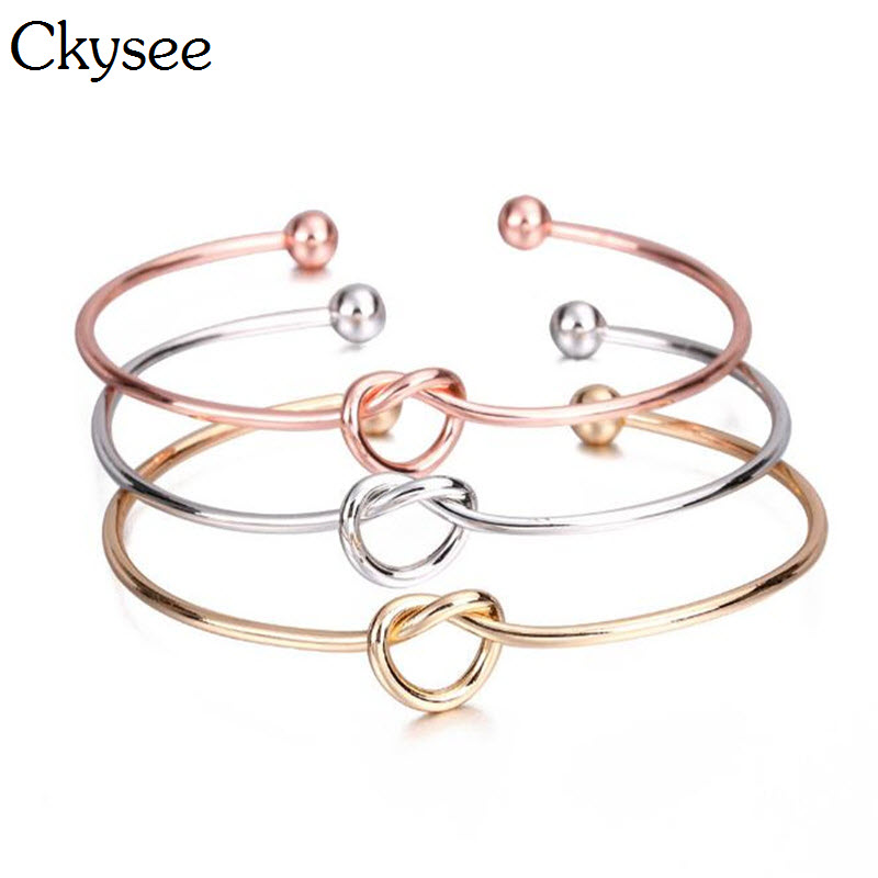 Ckysee Rose Gold Silver Love Tie Knot Heart Charm Open