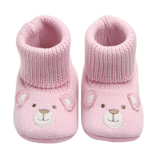 Купить с кэшбэком Baby Boots for Newborn Toddler Cartoon Crochet Socks New Style Infant Baby Girls Shoes Winter Warm Booties Support Drop Shipping