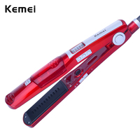 Kemei New Steam Comb Straightening Irons Automatic Straight Hair Brush Steam Flat Iron Electric Ceramic Hair