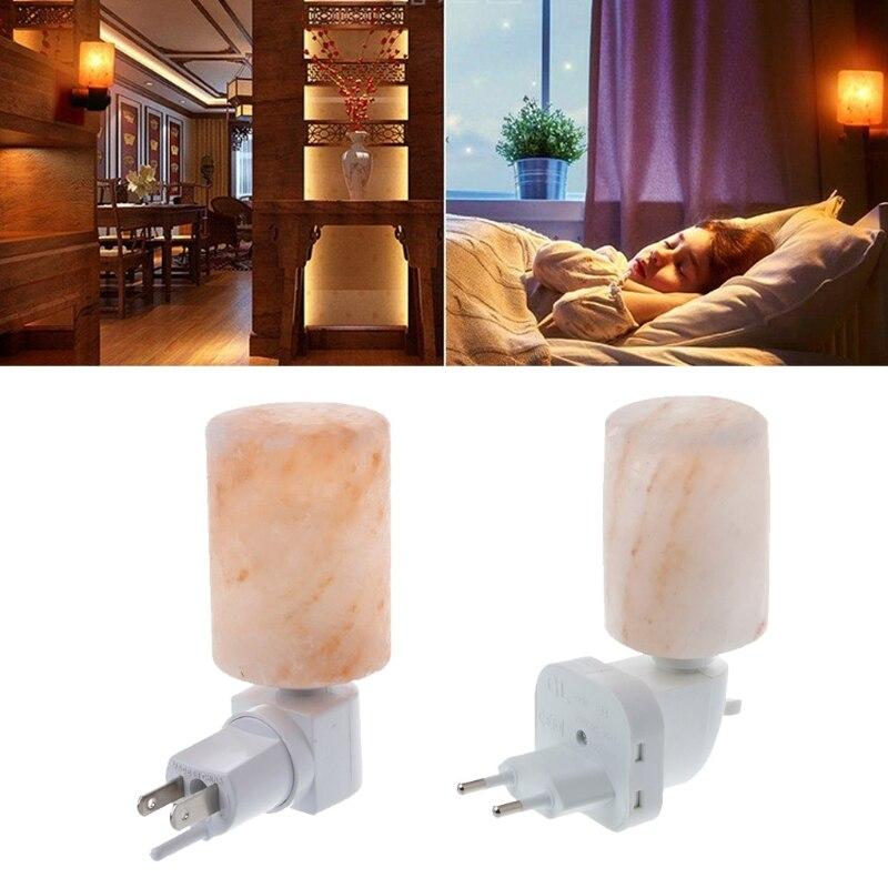 YAM 15W Rotatable Cylinder Himalayan Salt Lamp Air Purifier Crystal Salt Rock Bedside Night Light