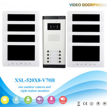 7 Inch Color LCD Wired Video Door Phone Intercom with Night Vision and Rainproof Design,Hands-free DoorBell 1 Camera 8 Monitor