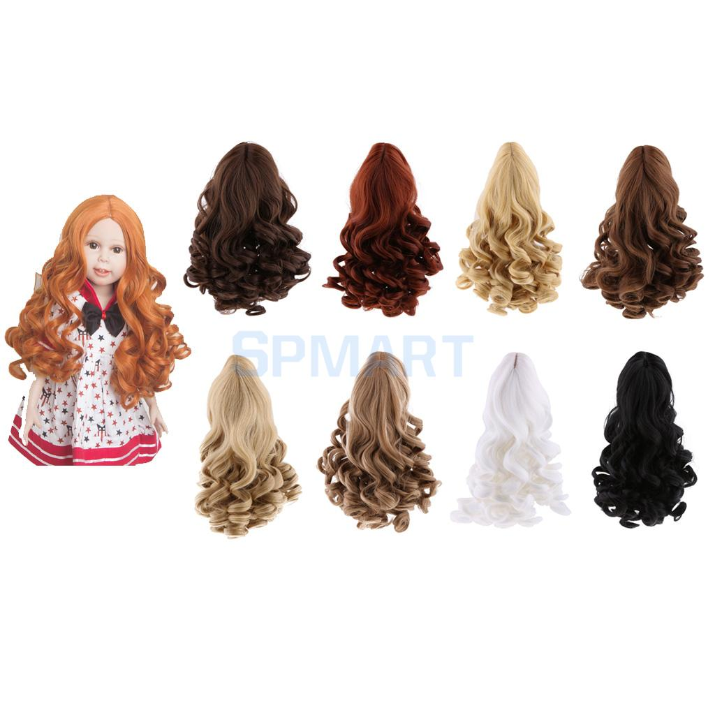 8 Colors Fantasy Middle Parting Wavy Curly Hair Wig for 18inch American Girl Dolls Hairpiece DIY Making Supplies Accessory