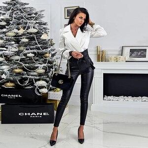 Image 4 - InstaHot altın siyah kemer yüksek bel kalem pantolon kadın suni deri PU Sashes uzun pantolon rahat seksi özel tasarım moda