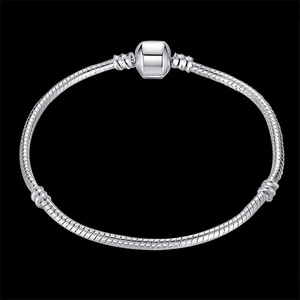 Image 4 - 100% Solid 925 Sterling Silver 16 23cm Long Snake Chain Bracelet Bangle Luxury Wedding Jewelry for Women Gift
