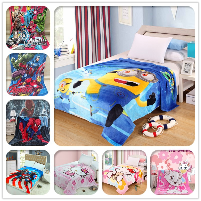 Cartoon Minions Blanket for Kids Gift Hello Kitty Doraemon Stitch Coral Fleece Blanket Throw on Bed,sofa,150x200cm Free Shipping