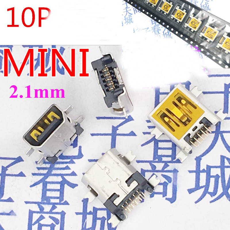 500pcs 10P Mini usb jack 2 1mm sink Type Mini usb Female Connector commun for digital