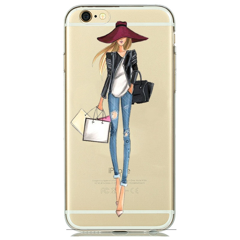 Silicone TPU Modern Lady Clear Case Cover for capinha iPhone 8 7 6 Plus 5s 5 SE Female Girls Woman Floral Coffee funda