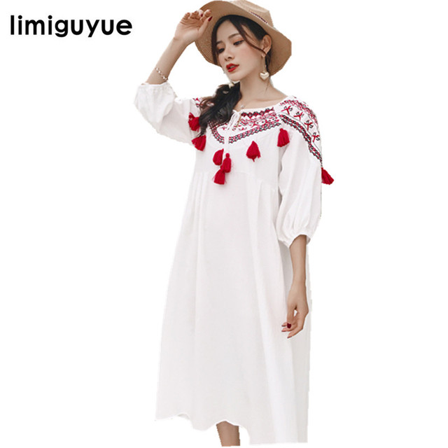 a0453b47cd limiguyue red tassel sweet cute embroidery linene and cotton dress beach  casual chic hippie boho dress runway dresses W216
