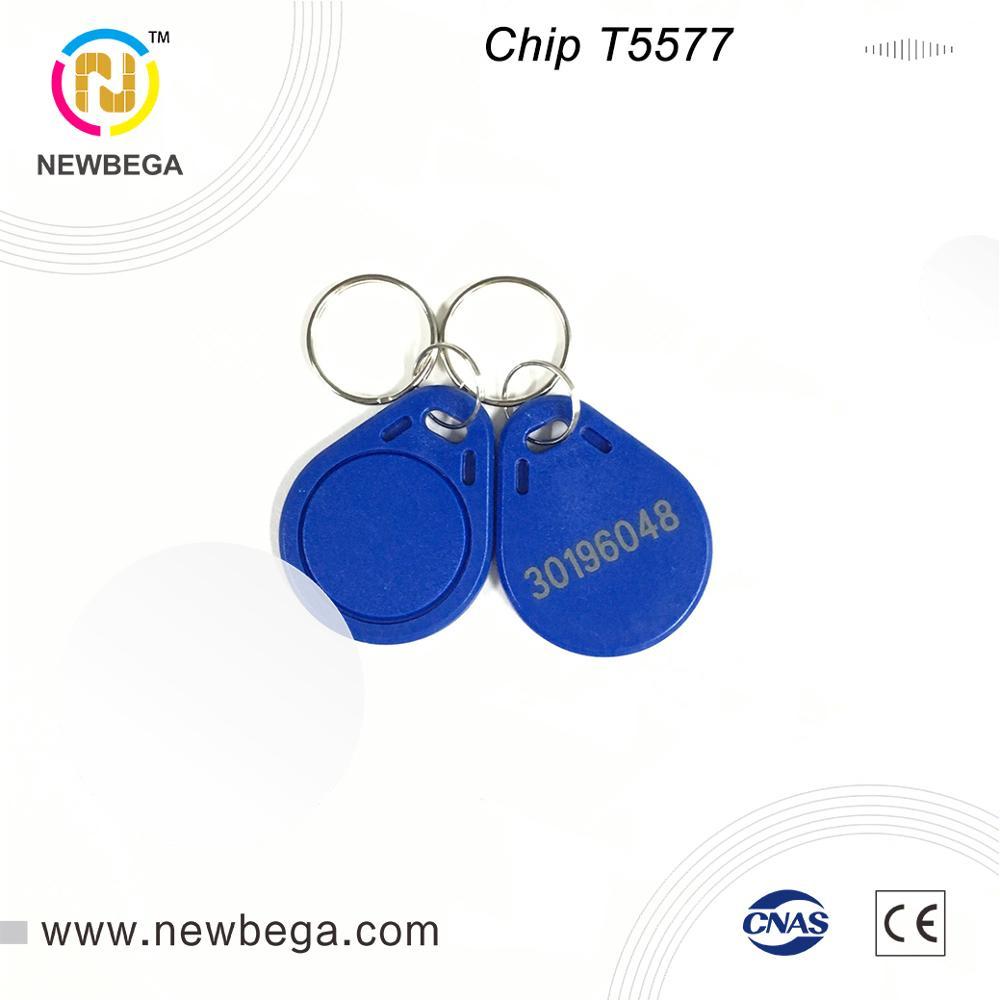 10PCS T5577 keyfob 125KHz controle de Acesso Pode ler e reescrever Cartão Chave Tag Frete grátis