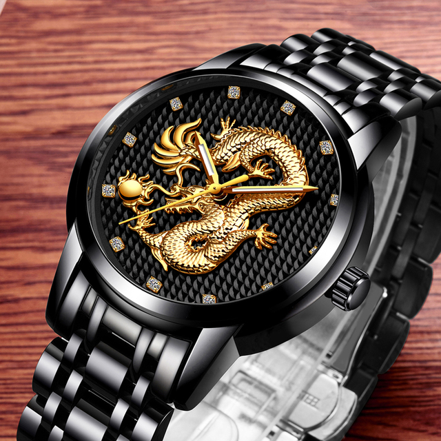 LIGE Men's Luxury Gold Dragon Waterproof Stainless-Steel Quartz Watches 1