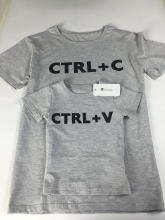 "Cute Father & Child Print ""Ctrl C + Ctrl V"" Pattern T-Shirt"