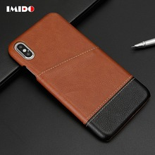 IMIDO Luxury Leather PU Phone Case For iPhone X XS MAX XR 8 7 Plus Vintage Contrast Skin TPU Back Cover Coque
