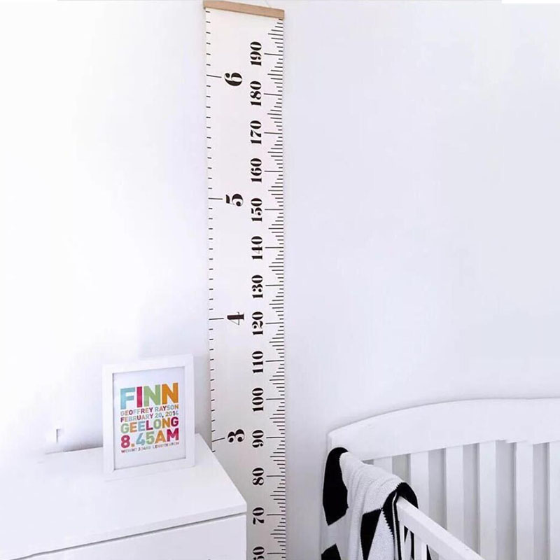 Kids Growth Chart Wood Frame Fabric Canvas Height Measurement Ruler