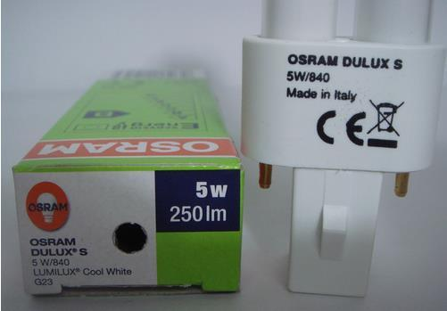 OSRAM 5W compact fluorescent lamp tube,LUMILUX 2 pins,DULUX S 5W/840 G23 Cool white light
